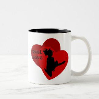 Amour de bobine - danse d'Irlandais - coeurs rouge Mugs À Café
