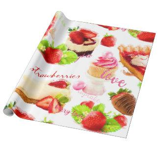 Amour de bonbons à fraise d'aquarelle papier cadeau