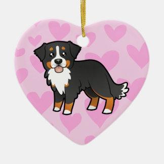 Amour de chien de montagne de Bernese Ornement Cœur En Céramique