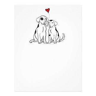 Amour de chiot de deux chiens prospectus avec motif