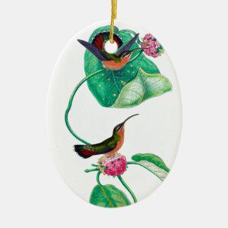 Amour de colibri ornement ovale en céramique