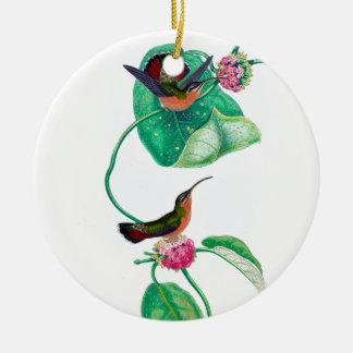 Amour de colibri ornement rond en céramique