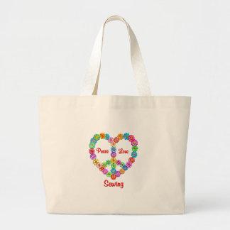 Amour de couture de paix sac en toile jumbo