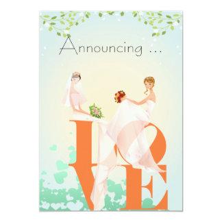 AMOUR de deux jeunes mariées épousant Annoucement Carton D'invitation 12,7 Cm X 17,78 Cm
