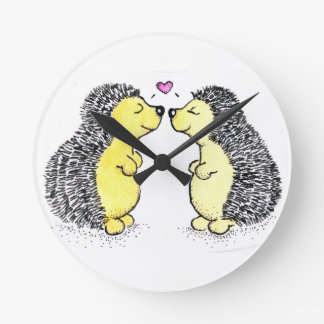 Amour de hérisson, heure pour l'amour horloge ronde