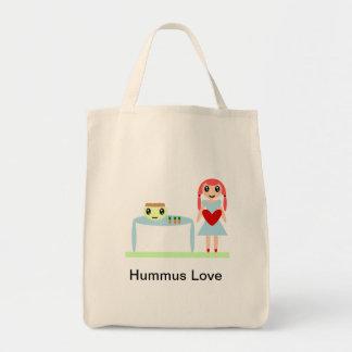 """Amour de houmous """"j'aime le houmous """" sac en toile épicerie"""