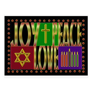 Amour de joie de paix carte postale