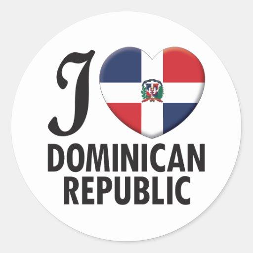 Amour de la République Dominicaine Autocollants Ronds