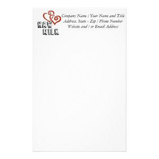Amour de lait cru motifs pour papier à lettre