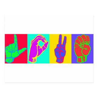 AMOUR de langue des signes Carte Postale