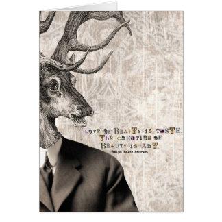 Amour de l'art numérique vintage de cerfs communs cartes de vœux