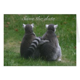 Amour de lémur ! . Réservez la date Carte De Vœux