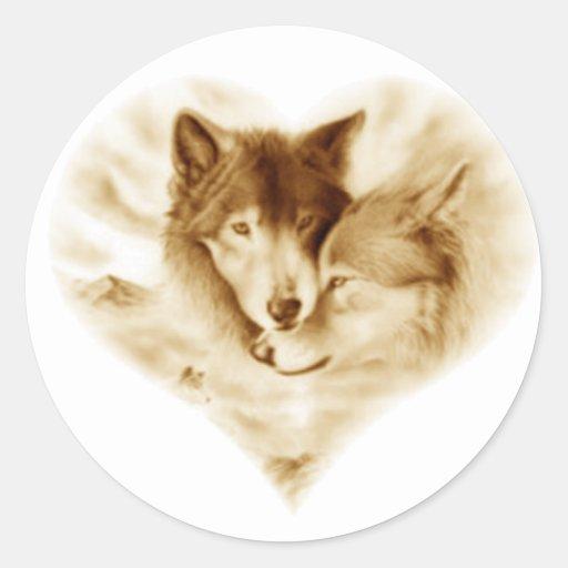 Amour de loup autocollant rond