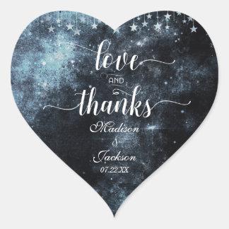 Amour de mariage d'aquarelle et faveur de mercis sticker cœur