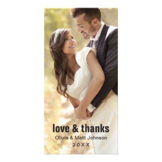 Amour de mariage et mercis - carte photo cartes de vœux avec photo