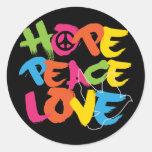 Amour de paix d'espoir sticker rond