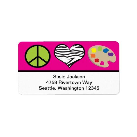 Amour de paix et étiquette d'art