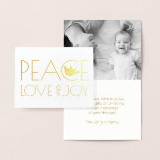 Amour de paix et or de photo de Noël de colombe de Carte Dorée