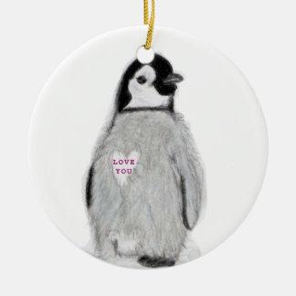 Amour de pingouin vous christm d'anniversaire de ornement rond en céramique