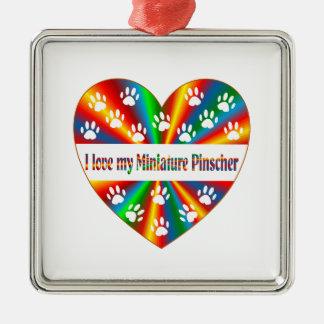 Amour de Pinscher miniature Ornement Carré Argenté