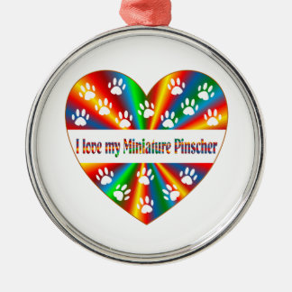 Amour de Pinscher miniature Ornement Rond Argenté