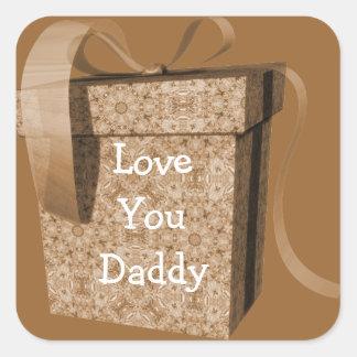Amour de ruban de boîte-cadeau de Brown vous Sticker Carré