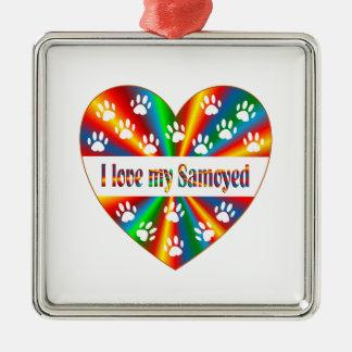 Amour de Samoyed Ornement Carré Argenté