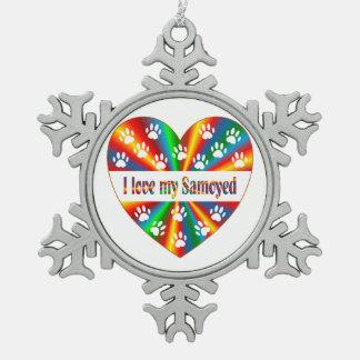 Amour de Samoyed Ornement Flocon De Neige Pewter