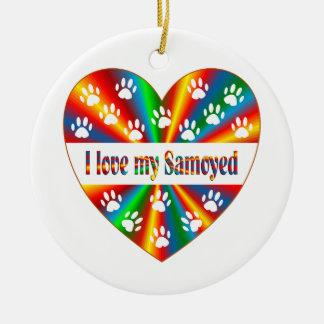 Amour de Samoyed Ornement Rond En Céramique
