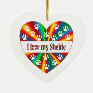 Amour de Sheltie Ornement Cœur En Céramique