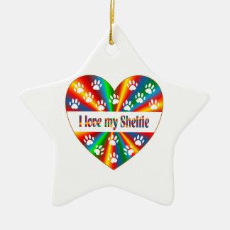 Amour de Sheltie Ornement Étoile En Céramique