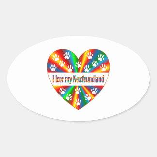 Amour de Terre-Neuve Sticker Ovale