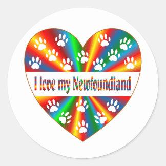Amour de Terre-Neuve Sticker Rond