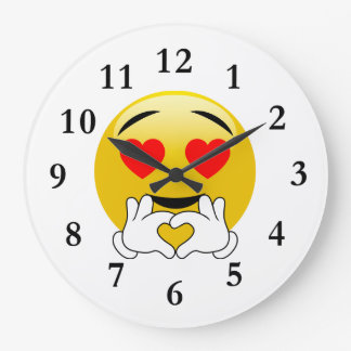 Amour d'Emoji de yeux et de mains de coeur Grande Horloge Ronde