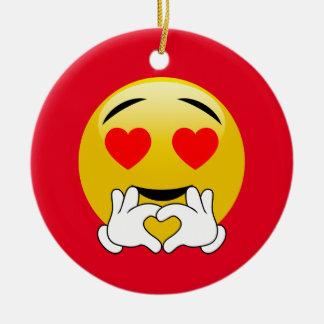 Amour d'Emoji de yeux et de mains de coeur Ornement Rond En Céramique