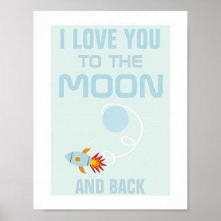 Amour d'enfants vous à l'affiche de lune posters