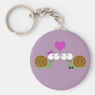 Amour d'escargot porte-clé rond