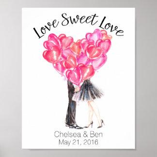 Amour doux d'amour, embrassant des couples, posters