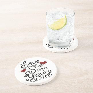 Amour drôle le vin vous êtes avec dessous de verre en grès