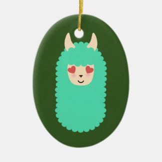 Amour Emoji de lama Ornement Ovale En Céramique