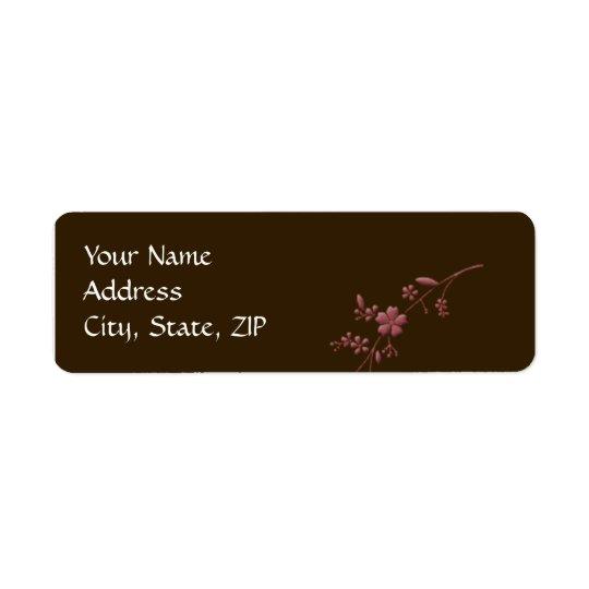 Amour en fleur : Brun chocolat avec des fleurs de Étiquette D'adresse Retour