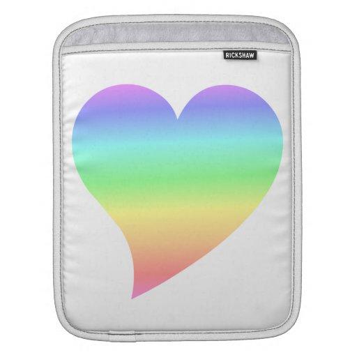 Amour en pastel d'arc-en-ciel de rétro coeur les a poches pour iPad