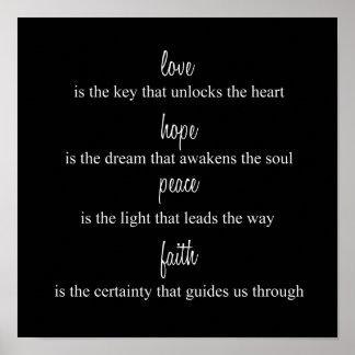 Amour, espoir, paix, foi posters