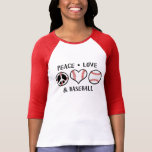 Amour et base-ball de paix t-shirt