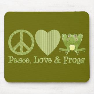 Amour et grenouilles de paix tapis de souris