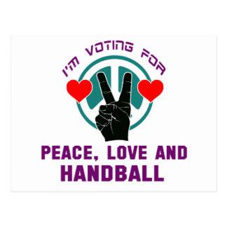 Amour et handball de paix cartes postales