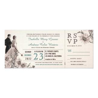 Amour et invitation vintage de mariage de