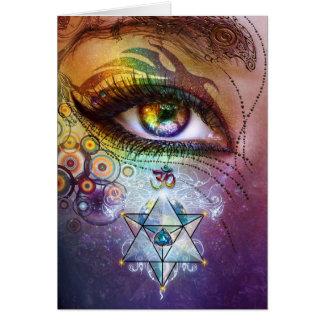 Amour et lumière d'oeil d'arc-en-ciel cartes