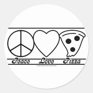 Amour et pizza de paix autocollant rond