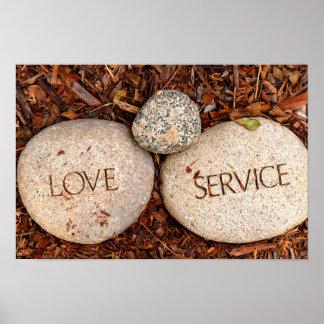 Amour et service - pierres religieuses affiche